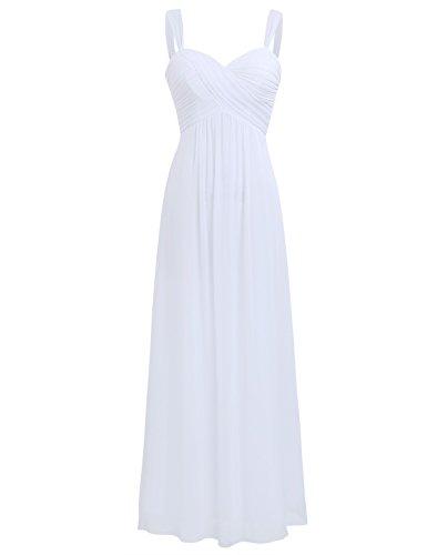 Freebily Vestido Elegante de Boda Fiesta Cóctel para Mujer Dama de Honor Vestido Largo Verano Blanco 36