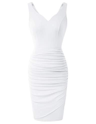 Mujer Vestido Corto de Plisada sin Manags con Cuello V de Cóctel para Fiesta L Blanco CLS02497-4