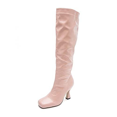 JOEupin Botas altas hasta la rodilla para mujer, tacón de aguja punta puntiaguda, botas de combate para vestido casual, talla grande, Pink, 36 EU