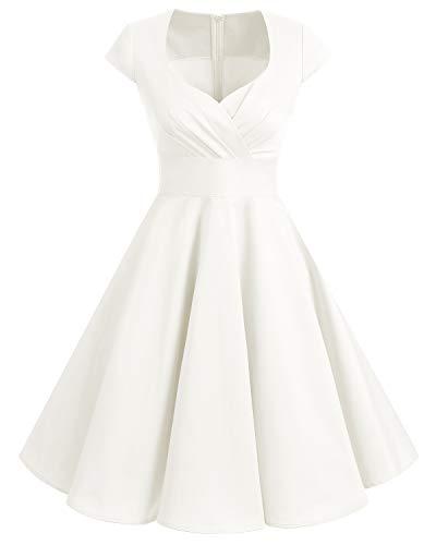 Bbonlinedress Vestido Corto Mujer Retro Años 50 Vintage Escote En Pico Off White M