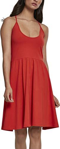 Urban Classics Ladies Spaghetti Dress Vestido, Naranja (Bloodorange 01685), 36 (Talla del Fabricante: X-Small) para Mujer