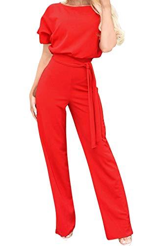 Eledobby Mono Elegante Mujer con Cinturón Manga Corta Piernas Anchas Mamelucos Largo Oficina Escote en O Vestir Cintura Alta Otoño Ropa Casuales Rojo XL