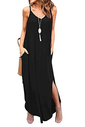 Vestidos Mujer Casual Playa Largos Boho Floral Maxi Vestido Bohemio Tirantes Playa Verano Negro L