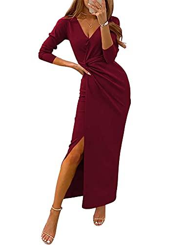 Vestido ceñido al cuerpo para mujer, vestidos elegantes con cuello en V y abertura, vestido largo para fiesta de cóctel, vestido largo para mujer, vestidos formales para graduación (Vino , Medium )