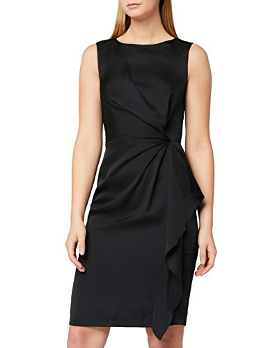 Marca Amazon - TRUTH & FABLE Vestido Túnica Detalle Retorcido Mujer, Negro (Black), 44, Label: XL