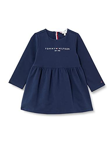 Tommy Hilfiger Baby Essential Dress L/S Vestido, Azul Marino Crepúsculo, 74 cm para Bebés