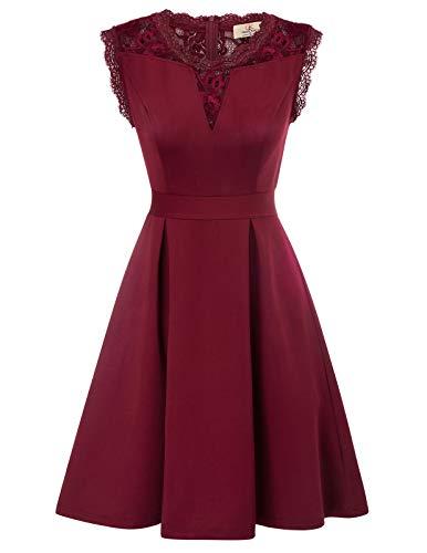 GRACE KARIN Mujer Vestido Encaje Vintage con Vuelo de Fiesta Retro L Rojo CL870-1