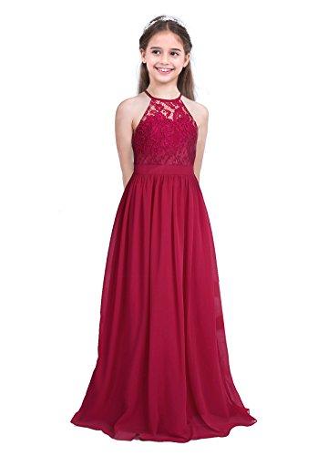 IEFIEL Niñas Vestido Princesa Largo de Fiesta Traje Elegante de Gasa Vestido Encage Floral de Cumpleaños Cuello Halter Vestido de Boda Dama de Honor Ropa de Ceremonia Bautizo Vino A 12 años