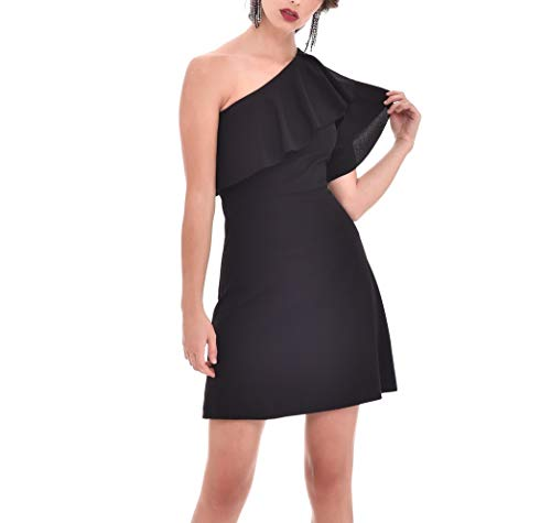 TONALA | Vestido Mujer Fiesta Evento Elegante Corto Liso Entallado Hombro Descubierto | Vestido Juvenil con Escote asimétrico (Negro, m)