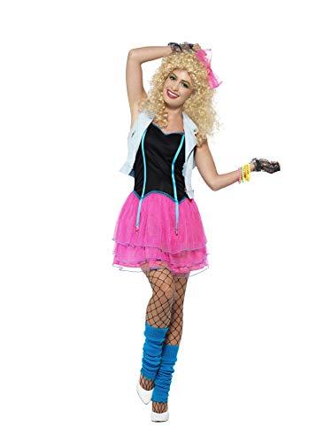 Smiffys Disfraz de enfant terrible de los años 80, Rosa, con vestido, torera y adorno pa