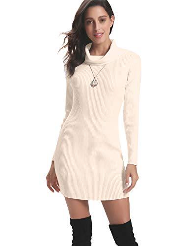 Abollria Vestido a Punto Cuello Alto Suéter Elegante para Mujer Jerséy Clásico para Otoño Invierno Cuello Alto, Beige, L
