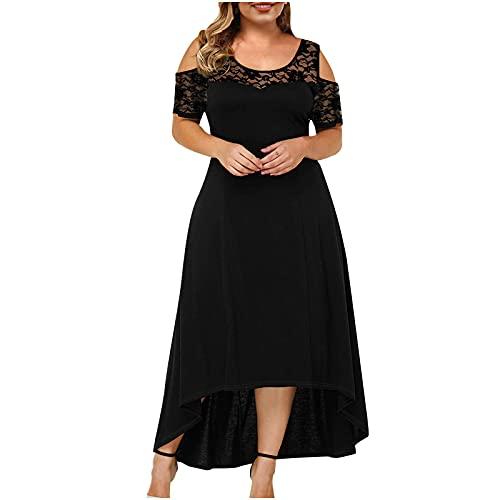 Nuevo 2021 Vestidos Largo Mujer, Moda tallas grandes Fiesta Vestido Elegante Vestido de Noche de encaje Verano Color sólido Casual Vestidos Sexy Vestido sin manga Vestido un hombro