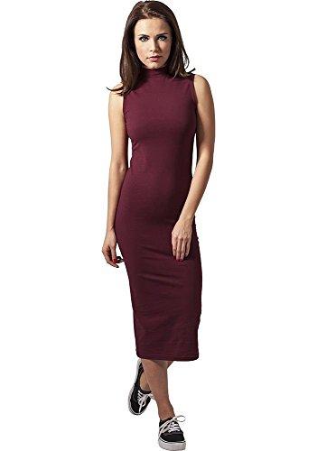 Urban Classics Ladies Stretch Jersey Turtleneck Dress Vestido, Rojo (Borgoña 606), M para Mujer