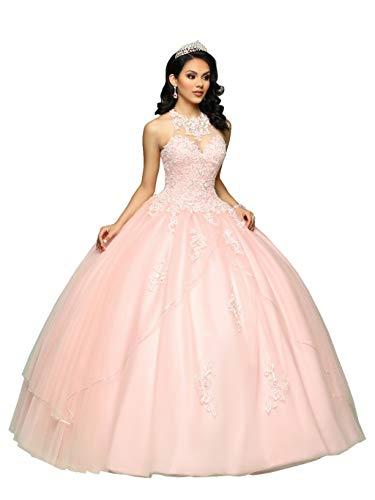 Nanger Vestido de tul para mujer, de Quinceanera, largo en A, vestido de princesa Rosa. 34