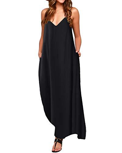 ACHIOOWA Mujer Vestido Elegante Playa Casual Dress Cuello V Sin Manga Túnica Sin Hombros Escote Punto Bolsillo Caftán Oversize Falda Larga Negro 2XL