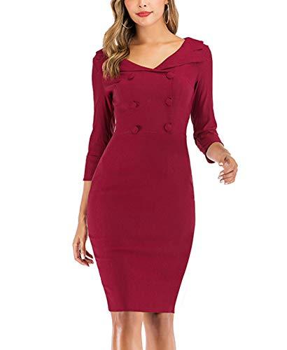 HenzWorld Vestido de Tubo Delgado de Cóctel Vintage para Mujer Vestido Informal de Mujer con Cuello en V y Cremallera en La Espalda Vestido Midi de Negocios Clásico Rojo Talla L