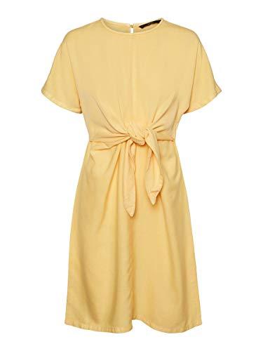 Vero Moda VMLAURA SS Front Knot Batwing Dress GA Vestido, Banana Cream, L para Mujer