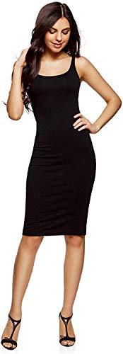 oodji Ultra Mujer Vestido-Camiseta de Tirantes de Punto, Negro, ES 46 / XXL