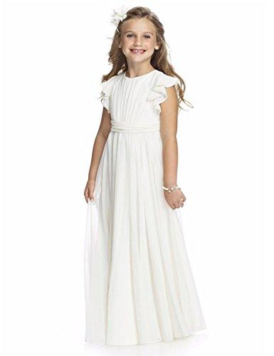 VIPbridal Vestidos de niñas de Flores de Encaje Vestido de la Primera comunión de Las niñas Princesa de Bodas (9, Blanco)