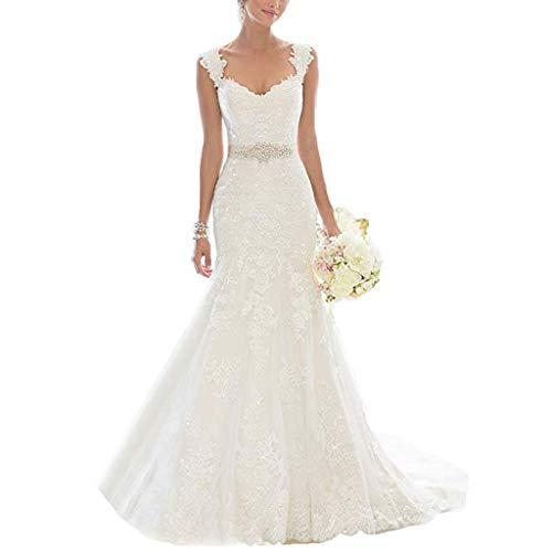 Vestido de novia de Encaje de Las Mujeres, Corte Ajustado, tamaño Personalizable Ailin Home (Color : Blanco, Tamaño : L)