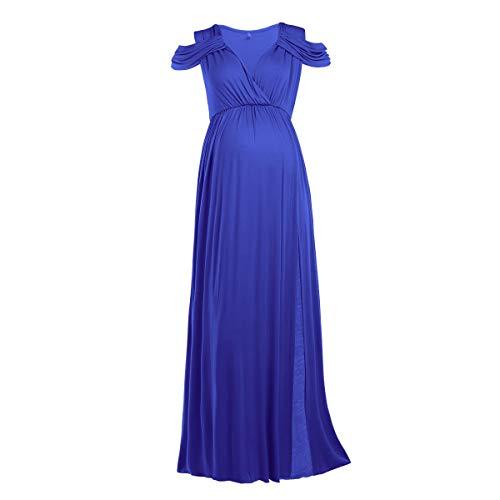 FYMNSI Vestido de maternidad para mujer, con hombros descubiertos, para embarazadas, para fiestas y noche, Azul (parte delantera dividida)., XL