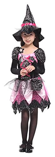 GEMVIE Disfraz de Halloween para niña - Disfraz de bruja,Vestido Tutú Princesa Brillantes Estrellas con Sombrero Bolsa de Dulces Varita Traje para witch costume Cosplay Halloween Carnaval (7-9 años)