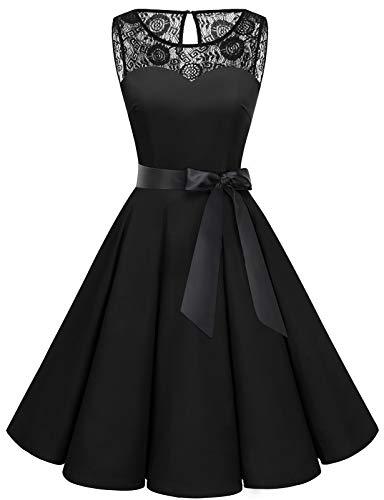 Bbonlinedress Vestido Mujer Corto Fiesta Boda Encaje Sin Mangas Black 2XL