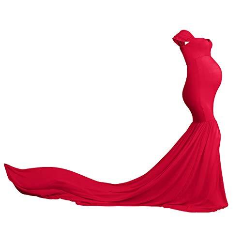Vestido de maternidad para mujeres embarazadas, vestido de maternidad largo de gasa con hombros descubiertos, vestido elegante para boda, cuidado de enfermería, encantador para mamá rojo Talla única