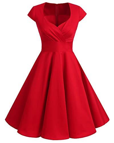 Bbonlinedress Vestido Corto Mujer Retro Años 50 Vintage Escote En Pico Red S