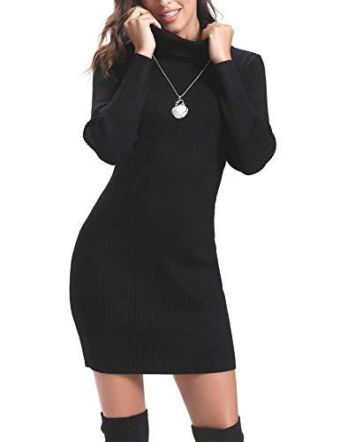 Aibrou Vestido de Punto Cuello Alto para Mujer,Vestido Ajustado Manga Larga Elegante Clásico,Vestidos Jersey Invierno (Negro, M)
