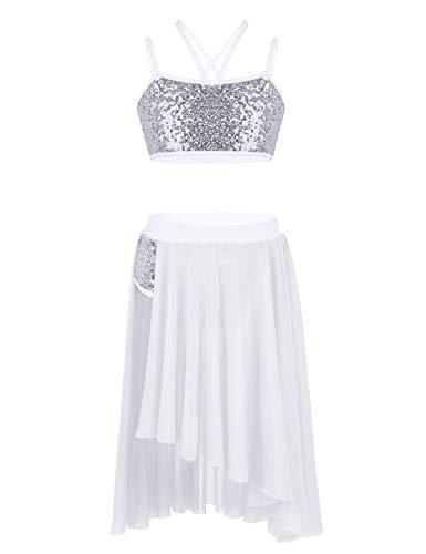 IEFIEL Vestido de Danza Ballet para Niña Vestido Danza Latina de Dos Piezas Top Lentejuelas+Falda Larga Ropa Baile Niña Blanco 8-10 años