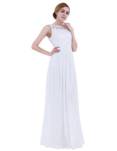 iiniim Mujer Vestido Largo Floreado de Fiesta Boda Vestido Vintage Retro Elegente Dama de Honor de Novia Encaje Traje de Gasa para Mujeres Varias Tallas Blanco 40