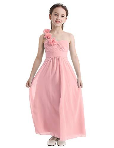 IEFIEL Vestido Largo de Fiesta para Niña Vestido Flores Hombro Descubierto de Dama de Honor Vestido Elegante de Ceremonia Boda Rosa 12 años