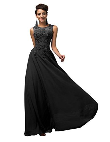 GRACE KARIN Vestidos Negros Elegante Dulce Vestido de Boda Dama de Honor Prom Talla 34