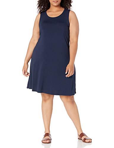 Amazon Essentials Vestido con Vuelo, de Talla Dresses, Azul Marino, XL Grande