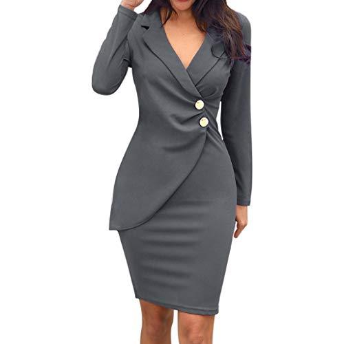 LUCKYCAT Negocio Vestido de Mujer Cuello Redondo Vestido Ajustado Mujer Vestido Lápiz para Oficina Estampado Delgado Elegante Vestido de Oficina Bodycon de Patchwork con Solapa de Manga Larga