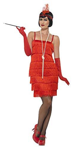 Smiffy's Vestido corto para mujer, estilo años 20, color rojo