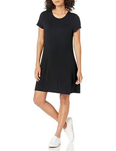 Amazon Essentials - Vestido de manga corta holgado con cuello redondo para mujer, Negro, US M (EU M - L)