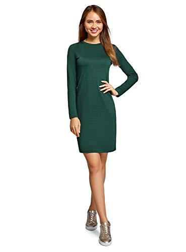 oodji Ultra Mujer Vestido de Punto con Mangas Largas, Verde, ES 36 / XS