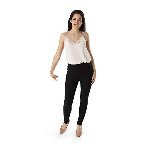 Trendcool. Leggins Mujer Vestir Negro. Pantalones Mujer Elegantes. Leggins Mujer Negros. Cómodos Leggins para Mujer Largos. (Negro, L/XL)