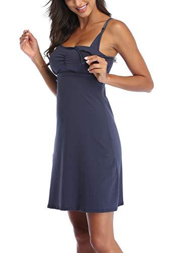 Vestido de embarazo para mujer, maternidad, embarazo, camisa de noche, lactancia, pijama para embarazo, ropa de noche Azul Marine#ez small