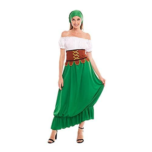 Disfraz Medieval Mesonera Mujer Vestido Tabernera Campesina Posadera【Tallas Adultos de S a L】[Talla S] Disfraces Medievales Edad Media Carnaval Festivales Teatro Actuaciones Desfiles