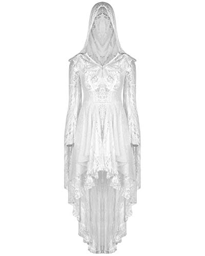 Vestido de encaje con capucha estilo gótico punk rave con capucha, color blanco boho bruja mística steampunk vintage ocultista boda Blanco blanco 42 ES/44 ES X-Large/XX-Large