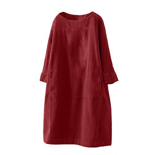OverDose vestidos mujer invierno manga 3/4 talla grande casual suelto Vestido con bolsillos M-5XL Clasico retro Cuello redondo color solido