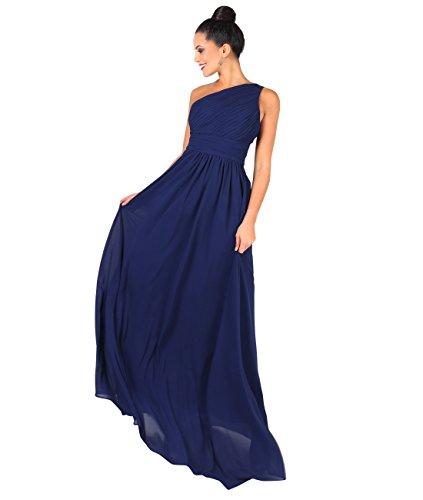 KRISP Vestido Mujer Fiesta Largo Talla Grande Hombro Descubierto Invitada Boda Dama, Azul Marino (4814), 38 EU (10 UK), 4814-NVY-10