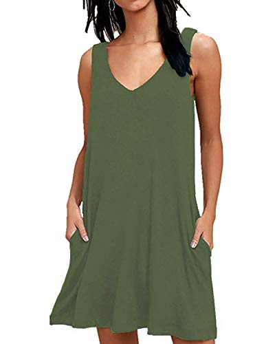 ABINGOO Mujer Vestido Casual Estampado Floral sin Mangas Verano con Bolsillos Cuello V Boho Playa Dress,A Verde,L=EU 40-42