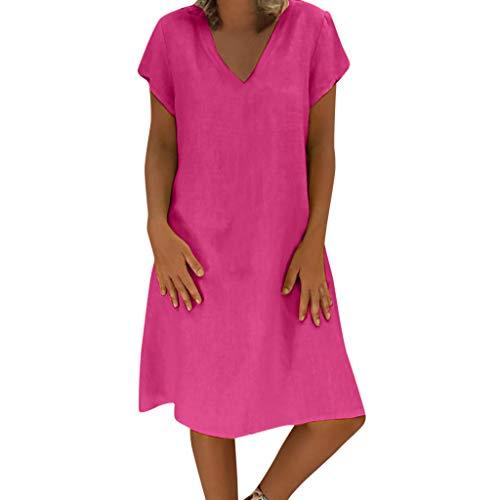 NPSJYQ Playa del verano vestido de lino retro vestido de cuello V para Mujeres METRO Multicolor