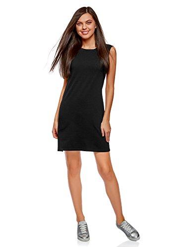 oodji Ultra Mujer Vestido de Tejido Piqué, Negro, ES 36 / XS