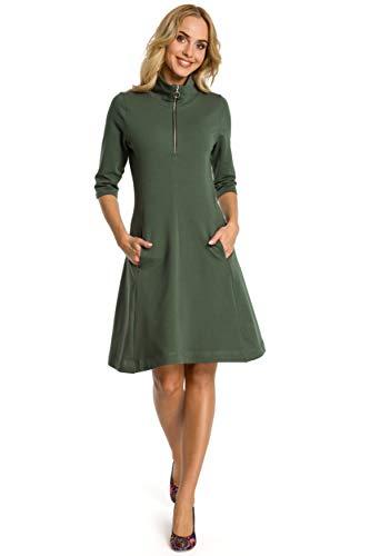 MOE - made of emotion Vestido Entallado con Vuelo y Cuello con Cremallera - Verde Militar, 36  S