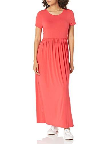 Amazon Essentials – Vestido largo de manga corta con cintura ceñida para mujer, Rojo, coral, US XL (EU 2XL)